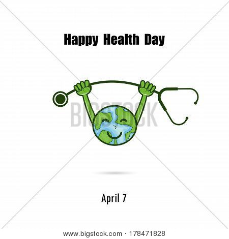 Globe sign and stethoscope vector logo design template.World Health Day icon.World Health Day cartoon mascot character.World Health Day idea campaign concept for greeting card and poster.Vector illustration