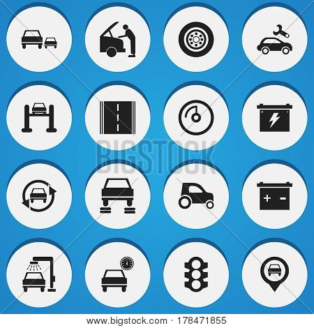 Set Of 16 Editable Car Icons. Includes Symbols Such As Speed Display, Pointer, Auto Repair And More. Can Be Used For Web, Mobile, UI And Infographic Design.