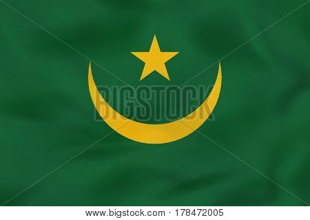 Mauritania Waving Flag. Mauritania National Flag Background Texture.