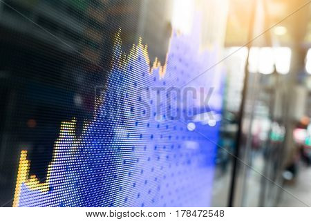 Stock market graph with screen