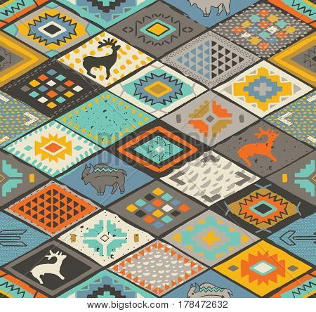 Native american patchwork pattern. Navajo and aztec fancy abstract print. Ethnic motif. Tribal vector illustration. Wallpaper for wrapping paper, fabric textile design.