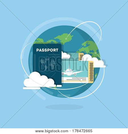 Vector passport with tickets. Air travel concept. Flat Design. ID for traveler
