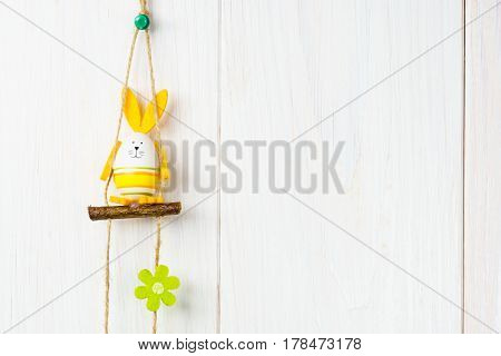 Happy Easter Bunny Eggs Decoration On White Wooden Background.