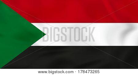 Sudan Waving Flag. Sudan National Flag Background Texture.
