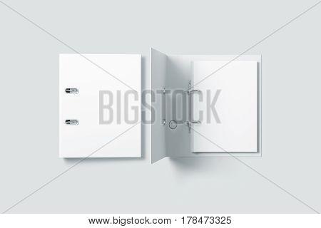 Blank white ring binder folder design mockup top view 3d rendering. Self-binder mock up with stack of a4 paper
