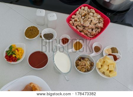 Different varieties of ingredients for making lunch