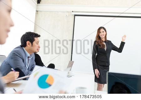 Business woman present the project in meeting room