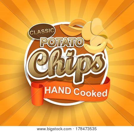 Potato chips label. Vector illustration for cafe and restaurant menu.