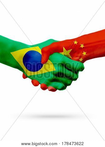 Flags Brazil China countries handshake cooperation partnership friendship or sports team competition concept isolated on white