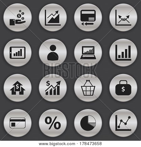 Set Of 16 Editable Statistic Icons. Includes Symbols Such As Bar Chart, Schema, Credit Card And More. Can Be Used For Web, Mobile, UI And Infographic Design.