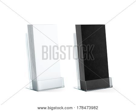 Blank black and white flyers stack mockups in glass plastic holder 3d rendering.