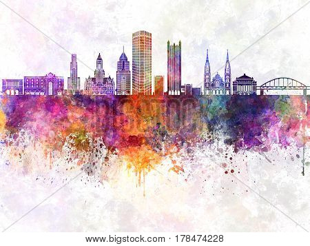 Pittsburgh skyline artistic abstract in watercolor background