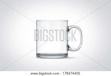 Blank transparent glass mug mockup isolated 3d rendering. Clear translucent coffee cup mock up for sublimation printing.