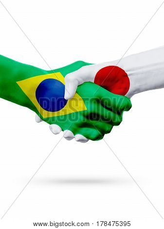 Flags Brazil Japan countries handshake cooperation partnership friendship or sports team competition concept isolated on white