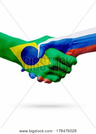 Flags Brazil Russia countries handshake cooperation partnership friendship or sports team competition concept isolated on white