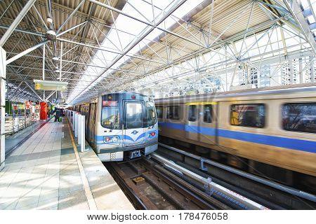 Taipei Taiwan - March 1 2016 : Street view of Taipei with metro train .The Taipei MRT is one of the best way to travel around the city.