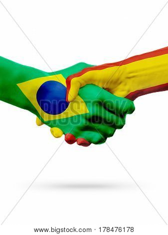 Flags Brazil Spain countries handshake cooperation partnership friendship or sports team competition concept isolated on white