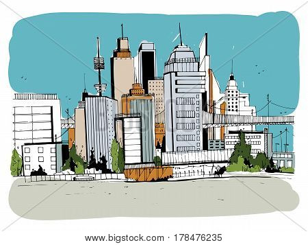 Megalopolis city, street illustration, Hand drawn colorful sketch landscape with buildings, cityscape, office in outline style. retro postcard design.