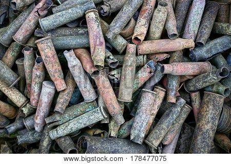 Background of copper and brass old cartridges