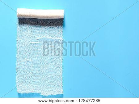 medical bandage on a blue background copyspace