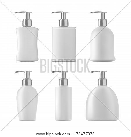 Soap botles set on white background. White isolated bottles of cosmetic liquids with pmp. 3D illustration.