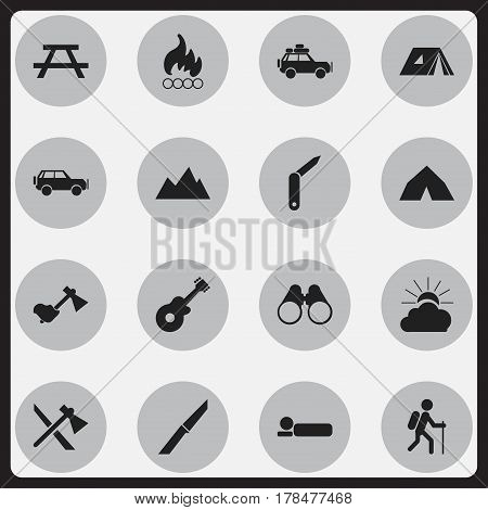 Set Of 16 Editable Trip Icons. Includes Symbols Such As Clasp-Knife, Tepee, Tomahawk And More. Can Be Used For Web, Mobile, UI And Infographic Design.
