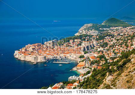 beautiful aerial view of Dubrovnik Dalmatian coast of Adriatic sea Croatia