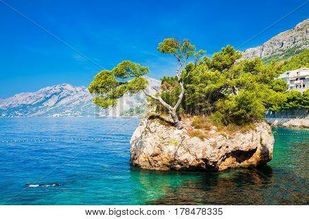 beautiful famous Brela Rock near Punta Rata beach Makarska Riviera Croatia