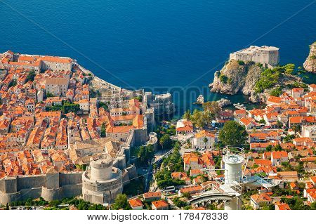 aerial view of the part of Dubrovnik Old town and Fort Lovrijenac South Dalmatia Croatia