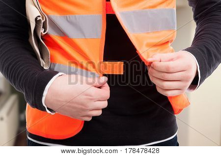 Closeup View Of Engineer With Reflective Vest