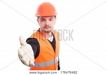 Attractive Contractor Doing A Handshake Gesture