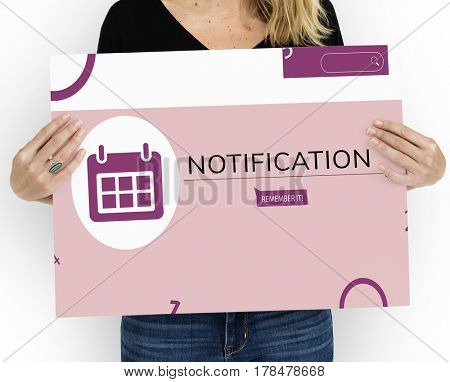 Woman holding banner of personal organizer reminder calendar illustration