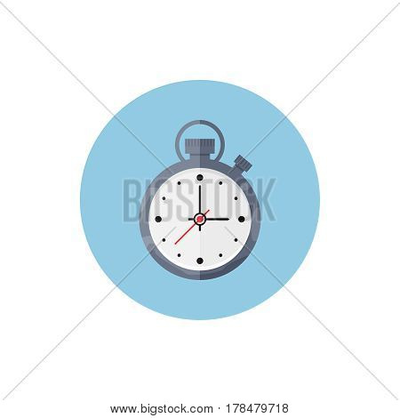 Timer in blue round on background vector concept. Time illustration in modern flat style. Color picture for design web site, web banners, printed material. Clock flat icon. Stop watch flat icon