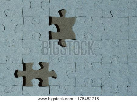 Jigsaw Puzzle background with two empty places with copy space