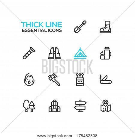 Camping and Hiking - modern vector line design icons set. Boots, flashlight, binocular, thermos, direction, fire, spade, axe, matches pocket knife trees backpack tent map