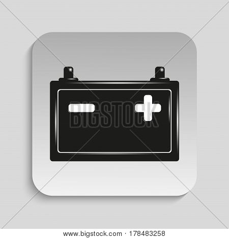 Car battery. Vector icon. Black and white image on a gray background.