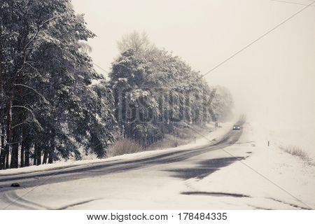 Road In Bad Weather Conditions In Winter