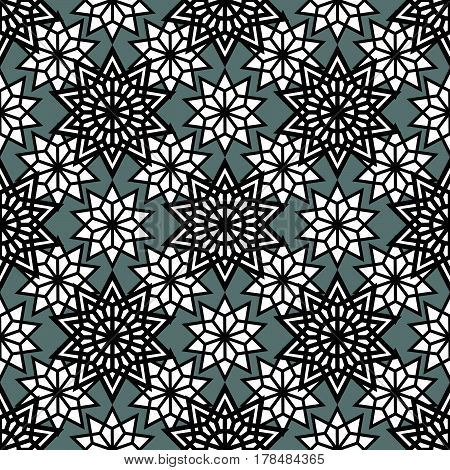 Abstract stars seamless pattern. Monochrome line geometry background. Vector illustration