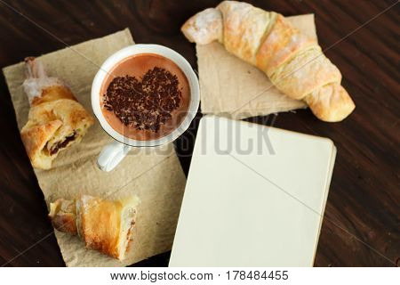 Romantic Breakfast - Delicious Fresh Croissants, Cocoa