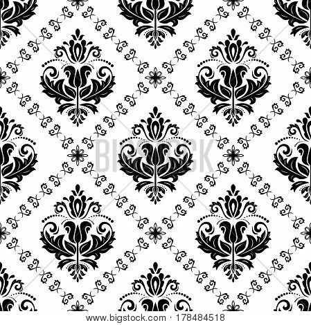 Damask vector classic pattern. Seamless abstract background with repeating elements. Orient black and white background