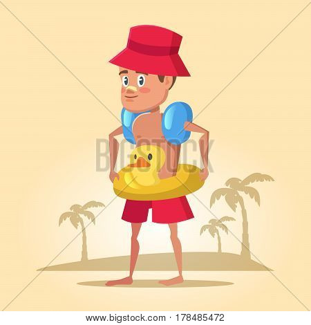 Boy with Lifebuoy on Summer Holidays. Sea Vacation. Vector cartoon illustration
