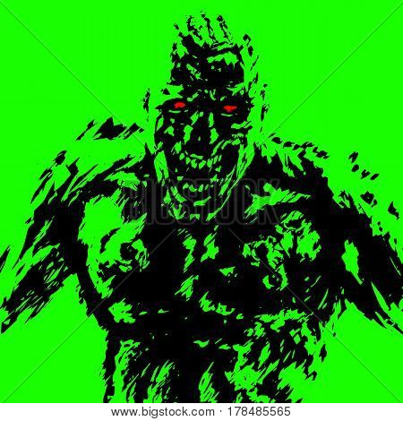 anger zombie attack in black and green color. horror image. contour freehand digital drawing. vector illustration