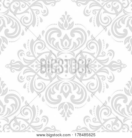 Classic seamless vector light silver pattern. Traditional orient ornament. Classic vintage background