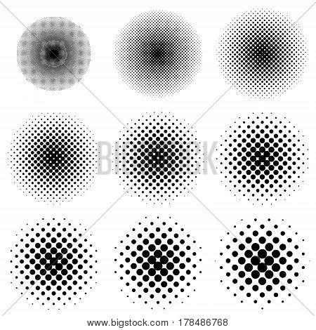 Halftone circles set vector different size of circles and gradations. Halftone circles set, dot pop art pattern.