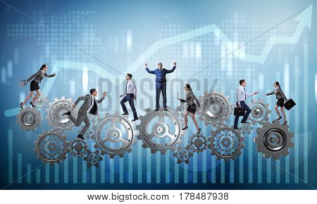 Teamwork concept with businessman and businesswoman