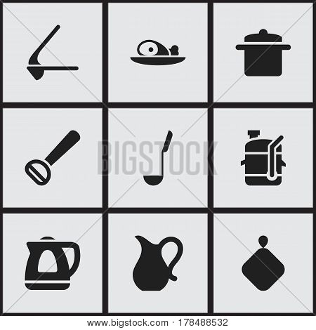 Set Of 9 Editable Food Icons. Includes Symbols Such As Crusher, Soup Spoon, Meat And More. Can Be Used For Web, Mobile, UI And Infographic Design.