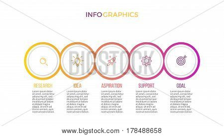 Business infographics. Presentation slide with 5 steps, circles.