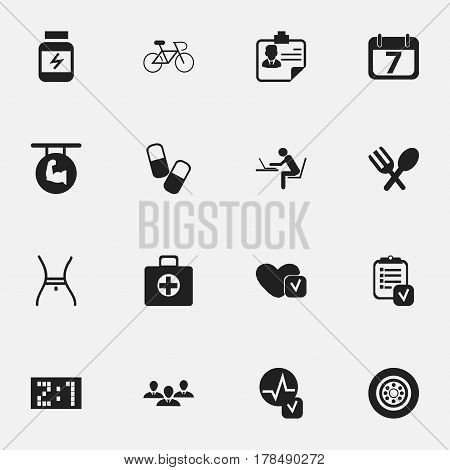 Set Of 16 Editable Complex Icons. Includes Symbols Such As Cutlery, Velocipede, Tire And More. Can Be Used For Web, Mobile, UI And Infographic Design.