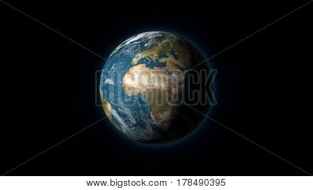 Realistic Earth centered on the African and European continent on a black background. Digital illustration. Earth texture is public domain provided by NASA.