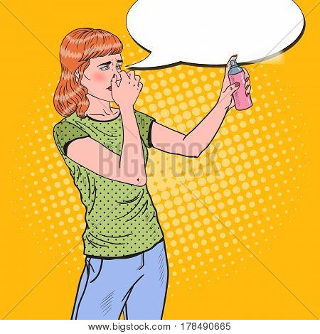 Pop Art Young Woman Spraying Can of Air Freshener. Vector illustration